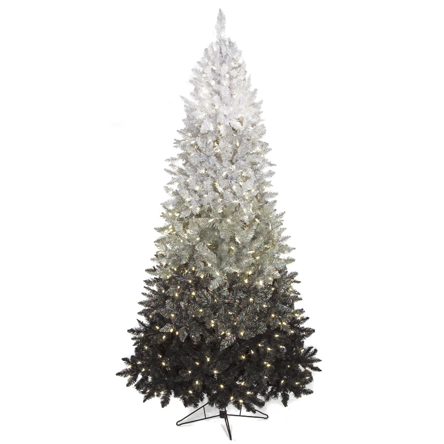 7 6 Hx50 W Ombre Led Artificial Christmas Tree Black Silver White