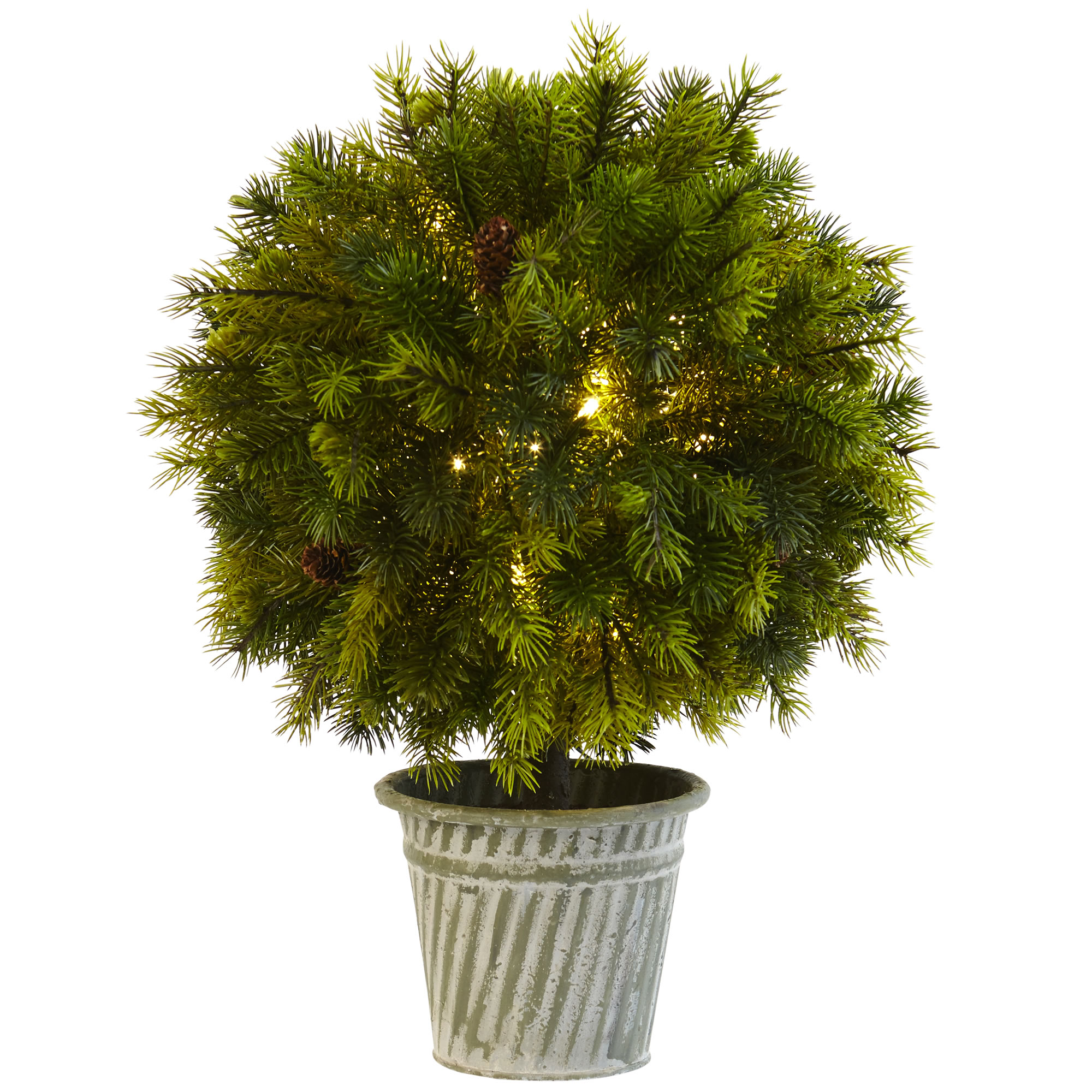 18 Quot Battery Operated Pine Ball Shaped Led Lighted