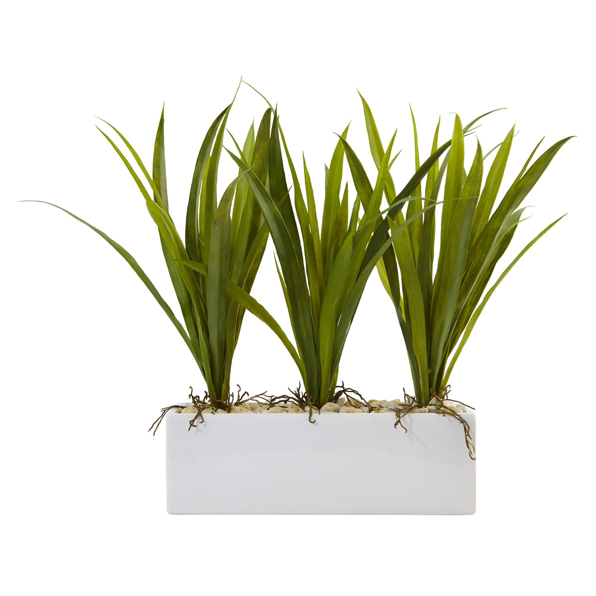 16 Quot Grass Artificial Plant W Rectangular Planter Green