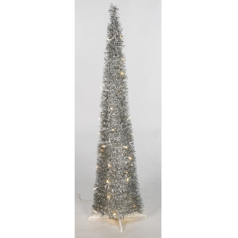 "Silver Tinsel Pop Up Christmas Tree: 5'Hx12""W Tinsel Pop Up LED Artificial Christmas Tree W"