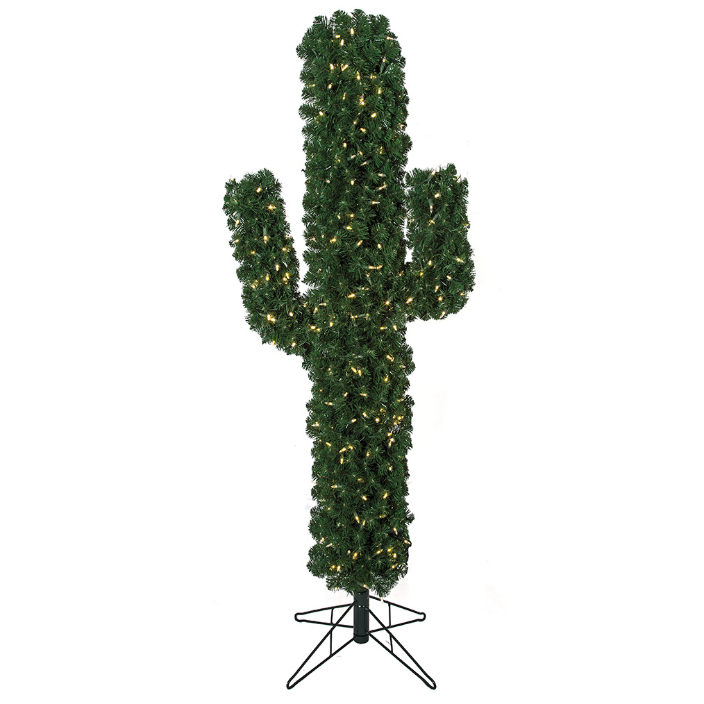 """Why Is There A Christmas Tree: 5'6"""" Cactus LED-Lighted Artificial Christmas Tree W/Stand"""