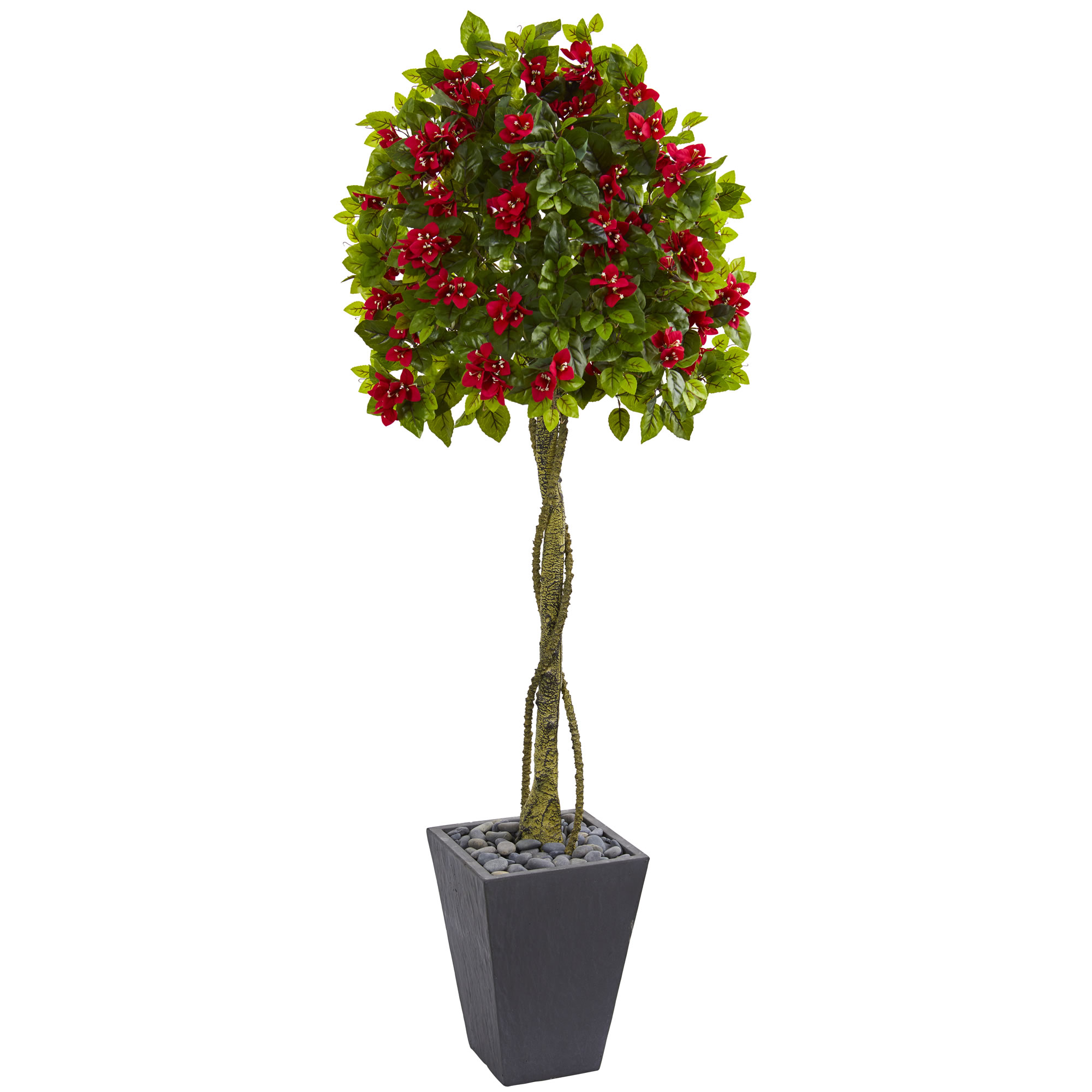 6 Bougainvillea Flower Ball Shaped Silk Topiary W Slate
